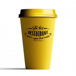 Taza personalizada take away amarilla